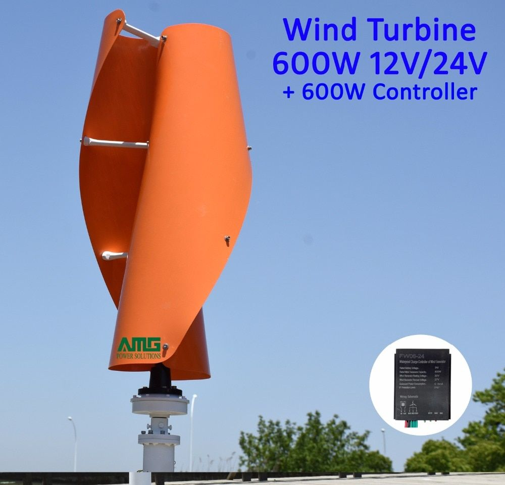 600W Maglev Wind Generator 12V 24V VAWT Vertical Axis Low Start Up Home use + QH 600W Waterproof Charger Controller