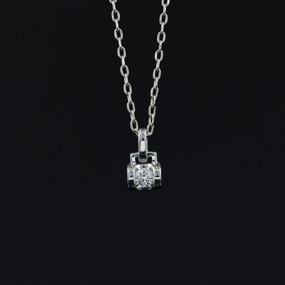 LASAMERO Halo 0.104CT 18k Gold Round Cut Square Center Pave Set Natural Diamond Pendant Necklace Chain Women Fine Jewelry