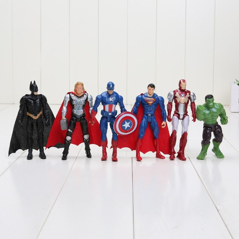 Hasbro Marvel 6 pcs/ensemble 8-10 cm Super Hero The Avengers action figure Jouets Spiderman Captain America Hulk batman thor superman jouet