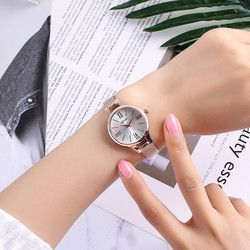 Jam Tangan Wanita Fashion Pin Gesper Bulat Kaca Rose Emas Stainless Steel Mesh Belt Jam Jam Tangan Wanita Wanita Watch wanita