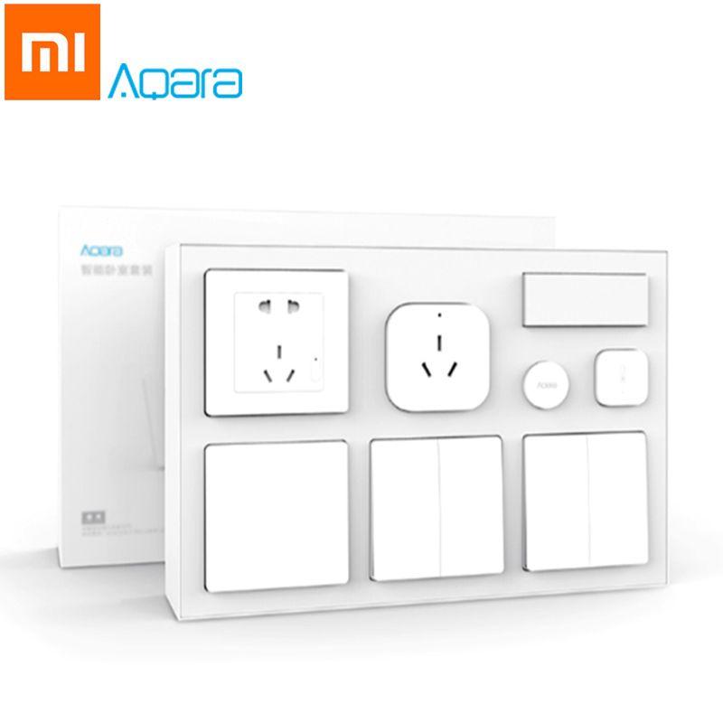 Original Xiaomi Aqara Mijia Smart Klimaanlage Mate Körper Temperatur Luftfeuchtigkeit Sensor Steckdose Schalter 2 stücke Wireless-schalter