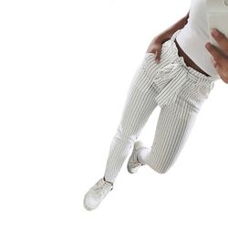 2018 Nouveau Rayé OL mousseline de soie taille haute harem pantalon femmes stringyselvedge summer style casual pantalon femelle pantalon