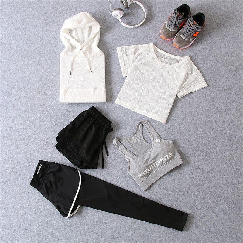 2017 mujeres ocasionales Sets ropa 5 unidades camiseta superior y Pantalones cortos verano mujeres Sets moda color sólido mujeres traje traje sexo