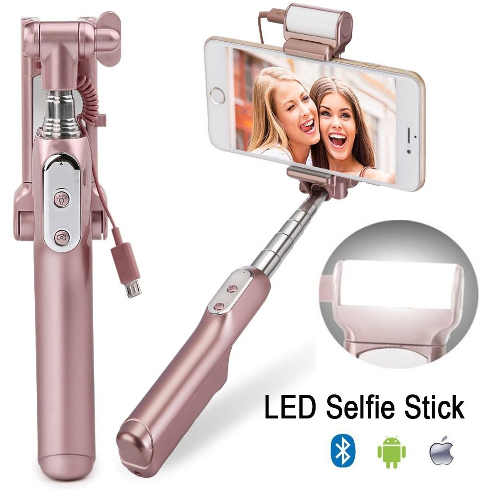 Ulanzi MiniPai Bluetooth Selfie <font><b>Stick</b></font> Monopod with mini Rear Mirror/LED Selfie Fill Light for iPhone X Huawei Samsung mobile