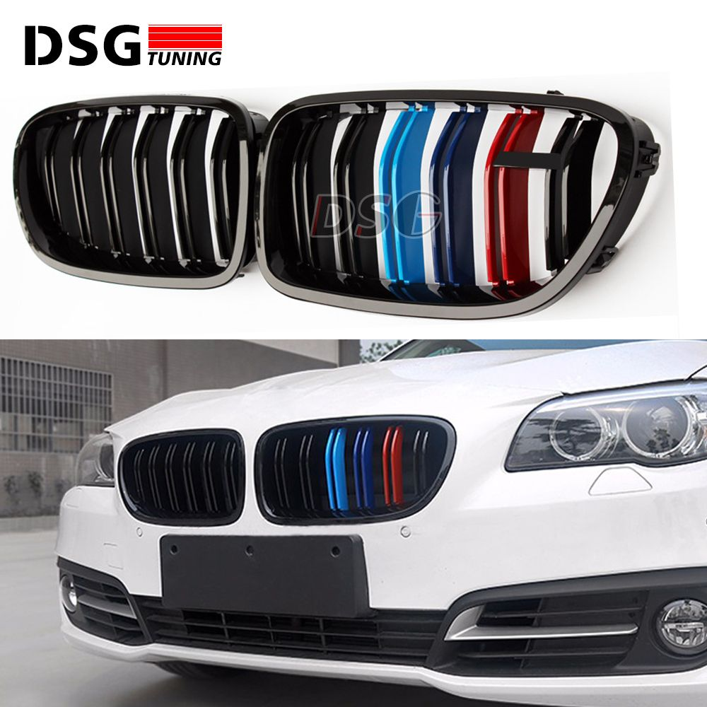 High Quality F10 ABS Replacement Dual Slat Front Bumper Grill Grille for BMW F10 518i 520i 530i 535i 2010 + M Color