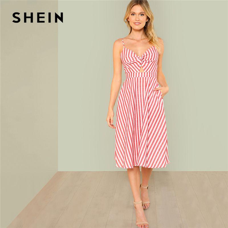 SHEIN Red Vacation Boho Bohemian Beach Backless Twist <font><b>Front</b></font> Cutout Knot Back Striped V Neck Cami Dress Summer Women Sexy Dresses