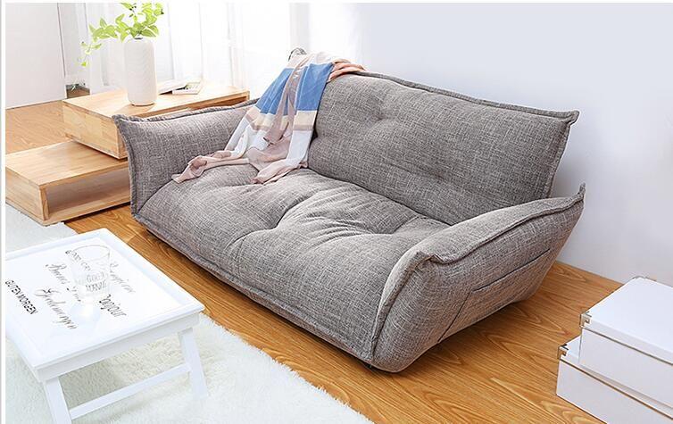 Modern Design Floor Sofa Bed 5 Position Adjustable Sofa Plaid Japanese Style Furniture Living Room Reclining Folding Sofa