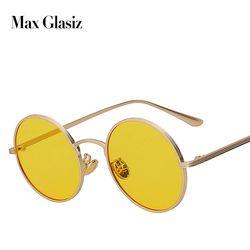 Max glasiz Vintage Sunglasses Women Retro Round Glasses Yellow Lense Metal Frame Glasses Coating Eyewear gafas de sol mujer