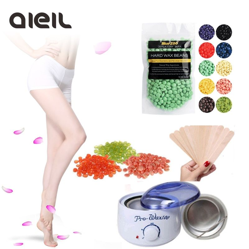 100g Hard Wax Beans Epilator Hot Wax Heater Kit with 10pcs Wooden Sticks Wax Kit Hair Removal for Face Bikini Beauty