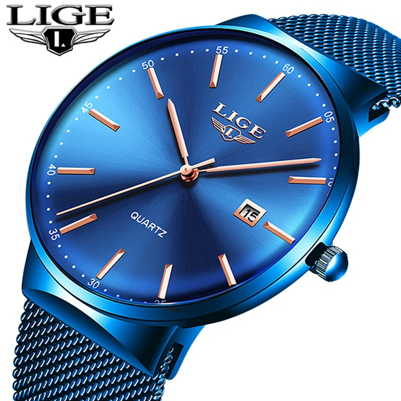LIGE Fashion Watch Men Waterproof Slim Mesh Strap