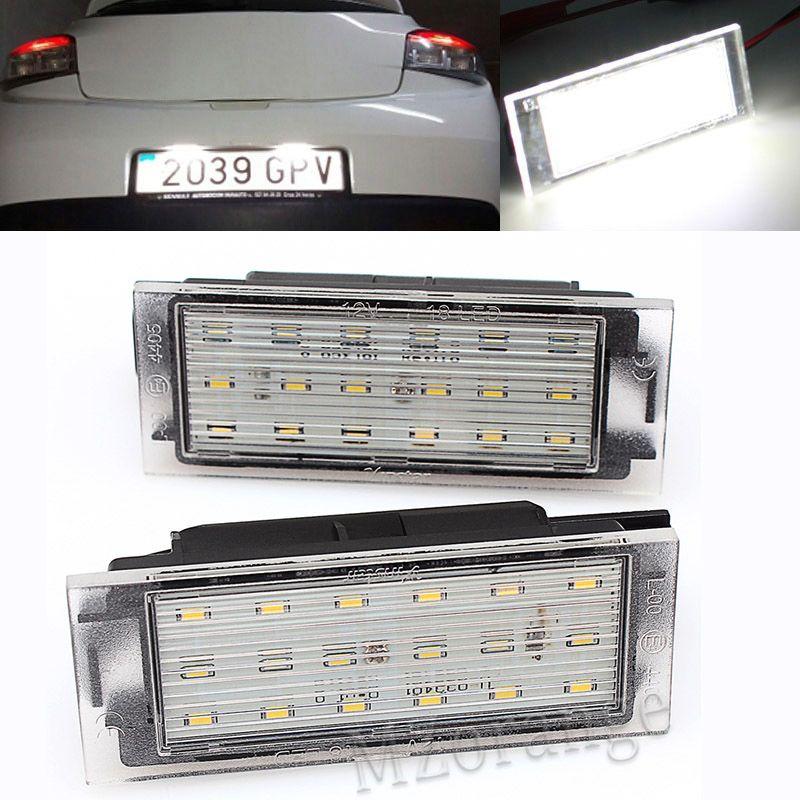 MZORANGE 2 pièces feu de plaque d'immatriculation numéro de LED de voiture SMD3528 pour Renault Clio Laguna 2 Megane 3 Twingo Master Vel Satis feux de voiture