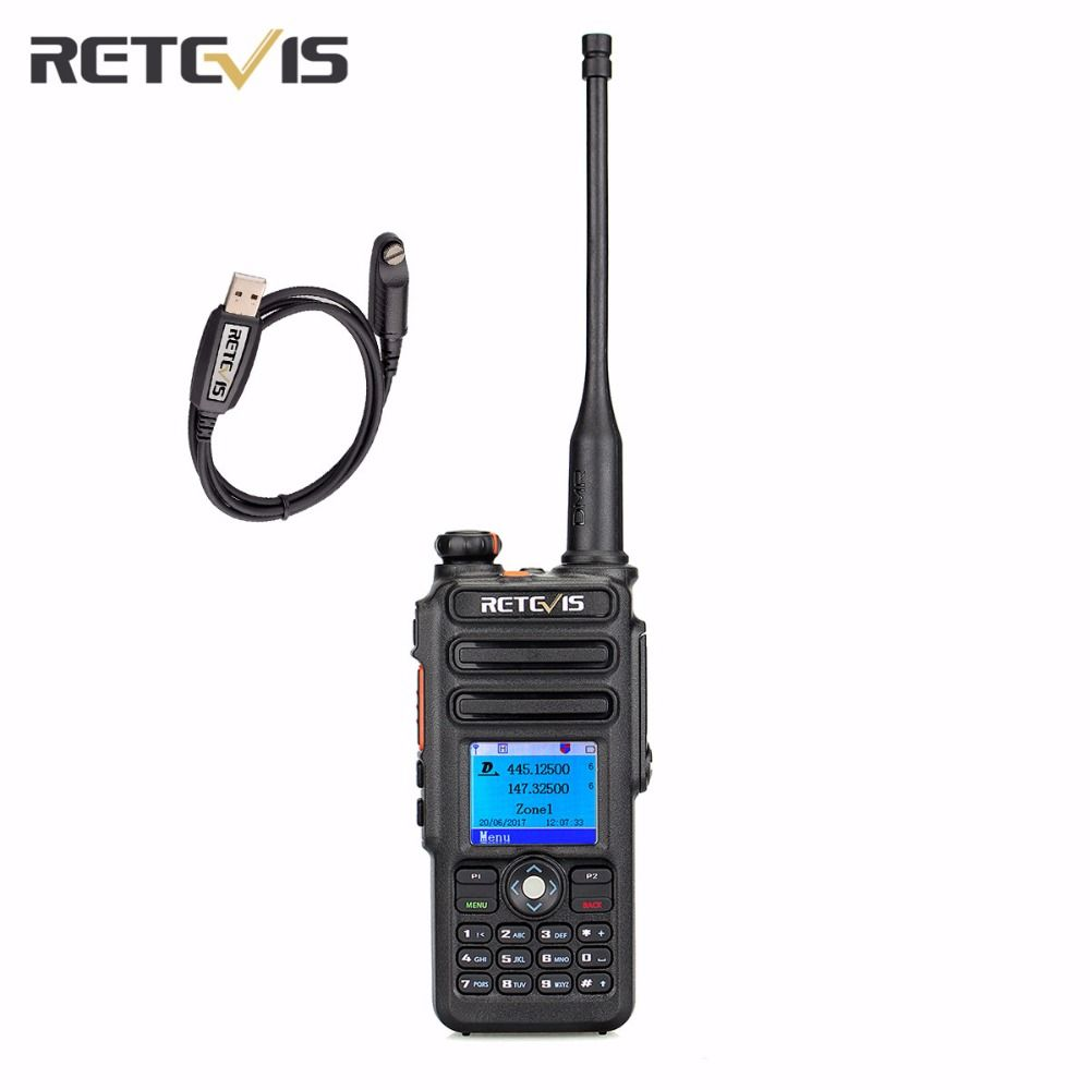 DMR TDMR Digital (GPS) DCDM Walkie Talkie Retevis RT82 Record Dual Band 3000CH IP67 Clock VOX Two Way Radio+A USB Cable
