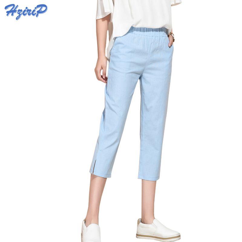 Hzirip Casual Harem Pantalon Femmes 2018 Nouvelle Lâche Coton Lin Pantalon Élastique Taille Haute Vintage Capris Femelles Plus La Taille S-3XL