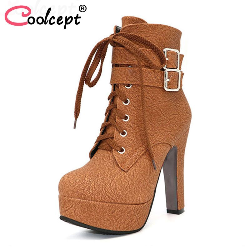 Coolcept Fashion Women Boots High Heels Ankle Boots Platform Shoes Brand Women Shoes Autumn Winter Botas Mujer Size 30-48