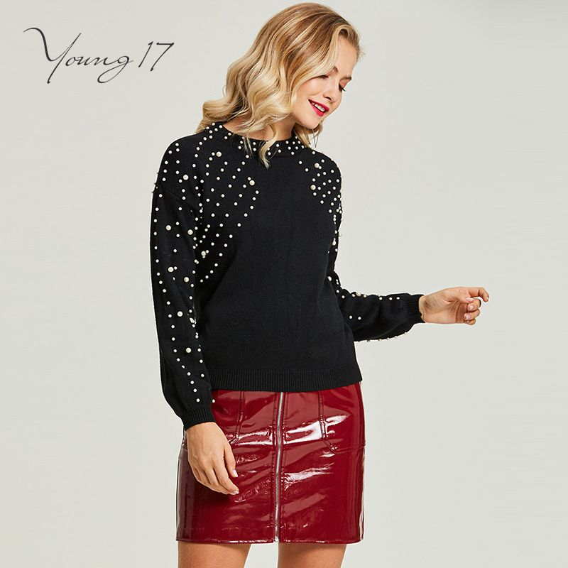 Young17 pullover knitted sweater black bead women autumn winter o neck girl elegant beauty fashion sexy women sweater pullover