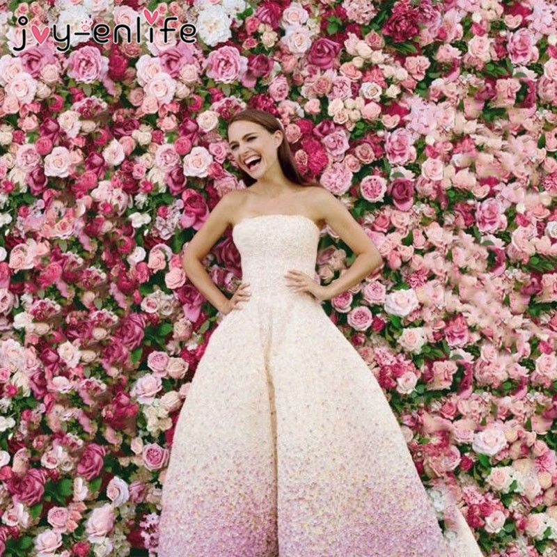 40x60cm Silk Rose Flower Champagne Artificial Flower for Wedding Decoration Flower Wall Romantic Wedding Backdrop Decoration
