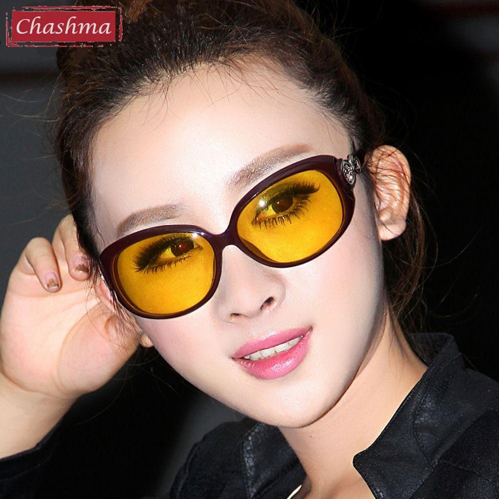 Chashma Marque Designer De Mode Jaune Lentilles Lunettes Femmes Nuit Pilote Lunettes De Conduite lunettes de Soleil Polarisées Nuit Lunettes