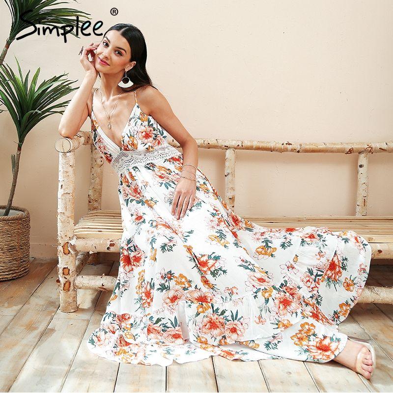 Simplee Boho print backless long summer dress Women floral deep v neck sexy dress 2018 White lace loose beach dress vestidos