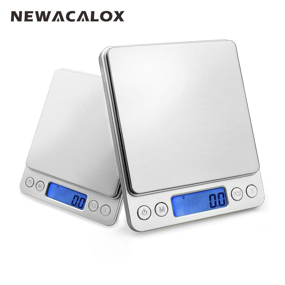 NEWACALOX 2000g x 0.1g balance de poche numérique 2kg-0.1 2000g/0.1 balance de bijoux balance de poids de cuisine électronique
