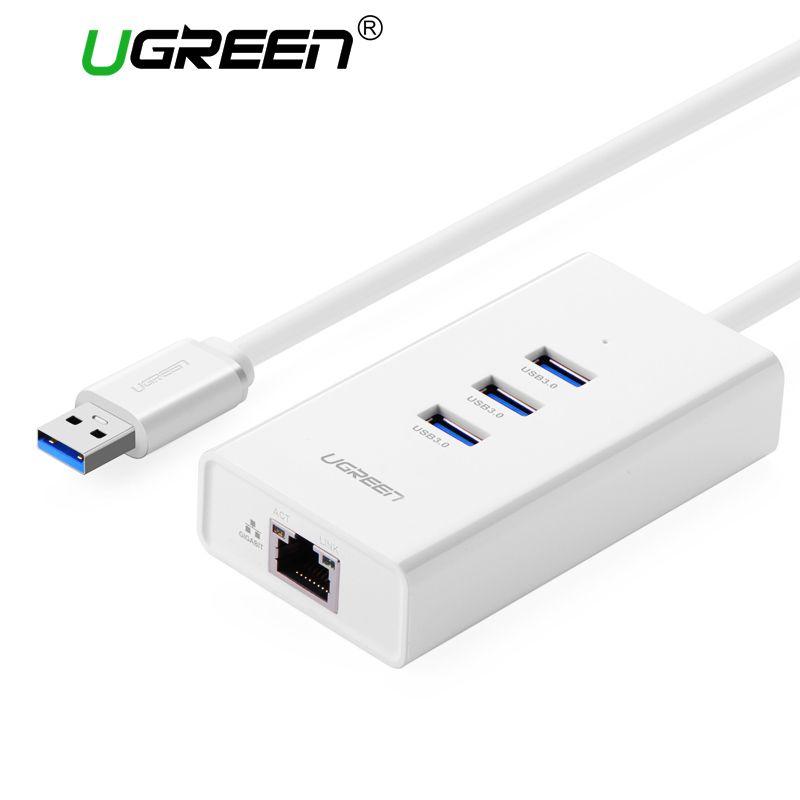 Ugreen USB 3.0 Gigabit Ethernet avec HUB USB à RJ45 Lan Adaptateur 100 Mbps pour Windows MacBook USB Carte Réseau Ethernet adaptateur