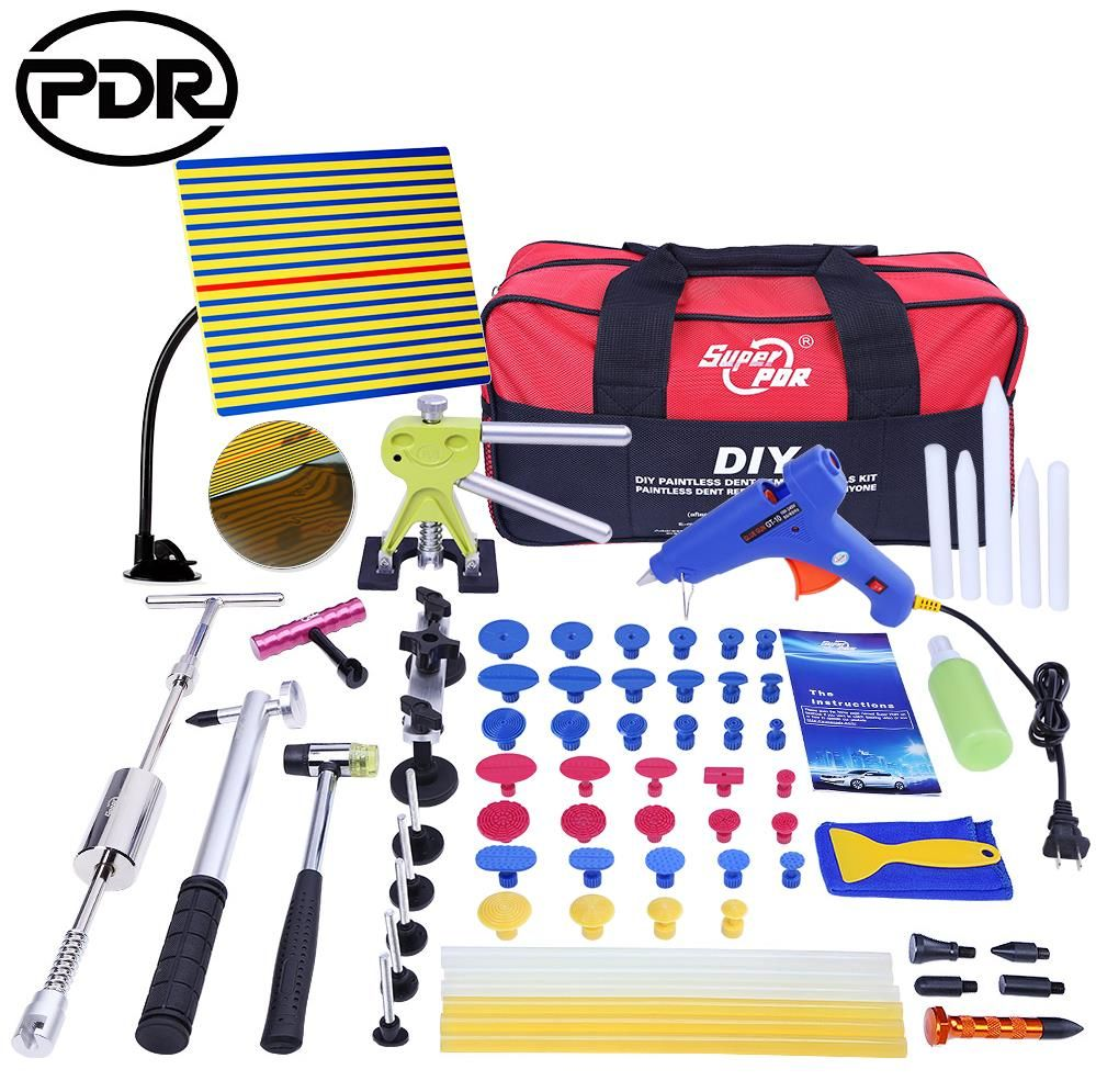PDR Tools Paintless Dent Repair Tools Dent Removal Dent Puller Tool Kit Reflector Board Puller Tabs Glue Gun Ferramentas