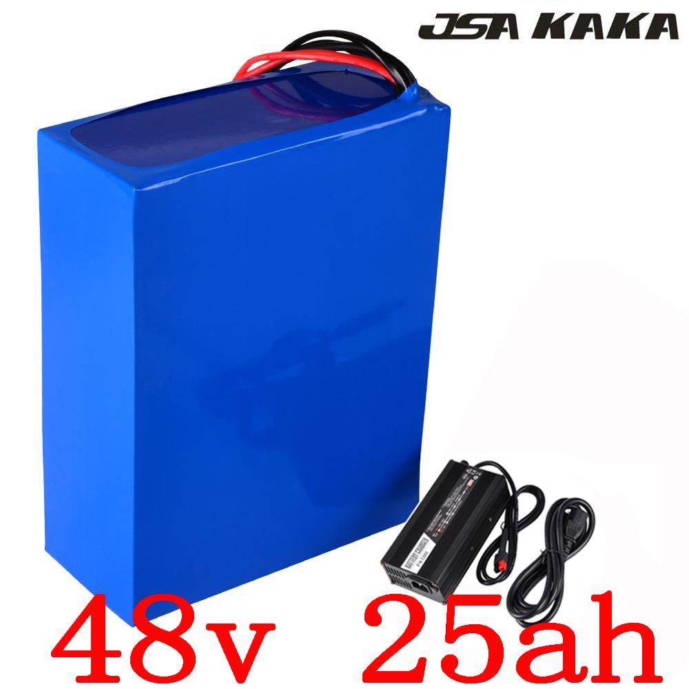 48V 25AH elektrische fahrrad batterie 48V 1000W 2000W ebike batterie 48V 25AH Lithium-batterie mit 50A BMS + 54,6 V 5A ladegerät duty freies