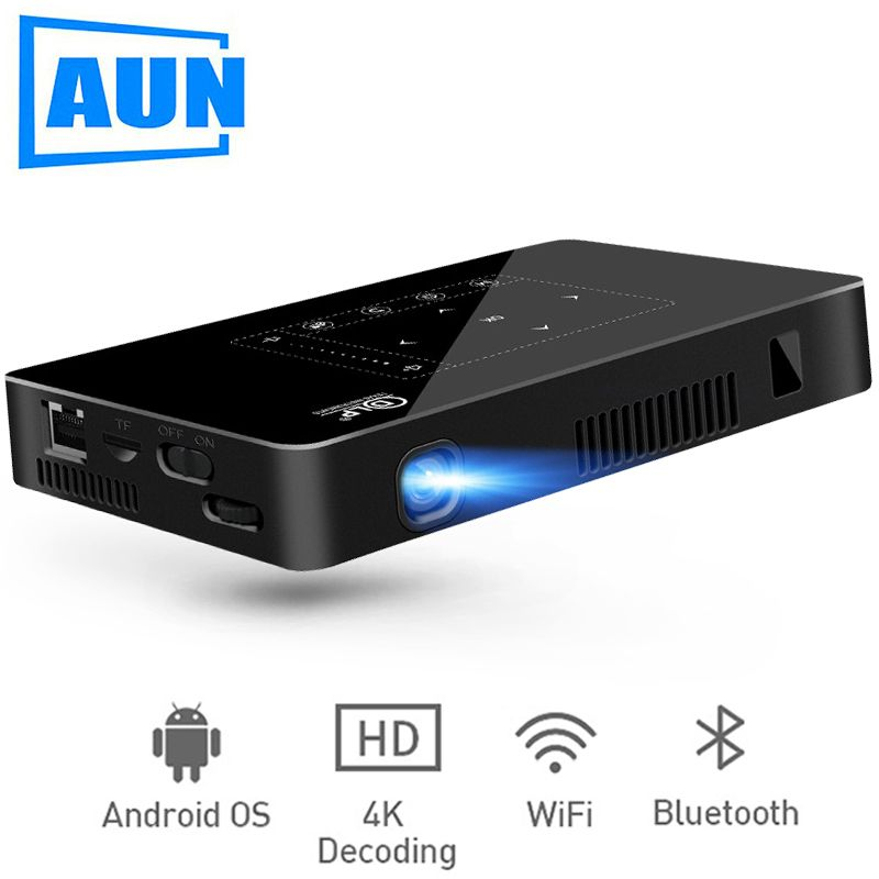 AUN MINI Projector D8I, 2G+16G, Android Beamer 1280*720 Resolution, Built in WIFI, Support 1080P, 4K LED Projector (Optional D8)