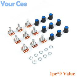 9 PCS (1 pc * 9 Valeur) linéaire Potentiomètre 15mm Arbre Avec Écrous Et Potentiomètre Bouton Cap pour 1 K 2 K 5 K 10 K 20 K 50 K 100 K 500 K 1 M
