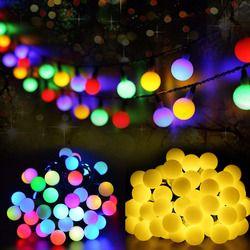 Multicolore 50 Led solaire lumière série imperméable à l'eau en plein air boule corde féerique de Vacances De Noël De Mariage De Jardin décoration LED chaîne