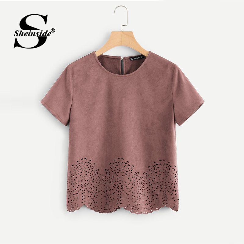 Sheinside Pink Scallop Laser Cut Out Blouse Solid Button Back Short Sleeve Top 2018 Summer Women Office Ladies <font><b>Work</b></font> Blouse