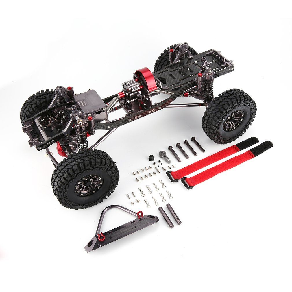 CNC Aluminum Metal and Carbon Frame Body for RC Car 1/10 AXIAL SCX10 Chassis 313mm Wheelbase Vehicle Crawler Car Parts Accessory
