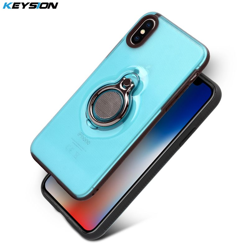 KEYSION Phone Case for iPhone X Finger Ring Case TPU + PC Car Holder Stand Magnetic Bracket Back Cover for iPhoneX for iPhone 10
