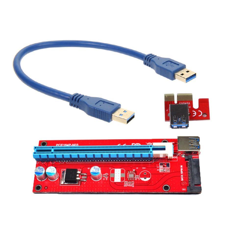 PCIe PCI-E PCI Express Riser Card 1x à 16x USB 3.0 Données câble SATA à 4pin IDE Molex Alimentation 30 cm/60 cm pour BTC, LTC, ETH