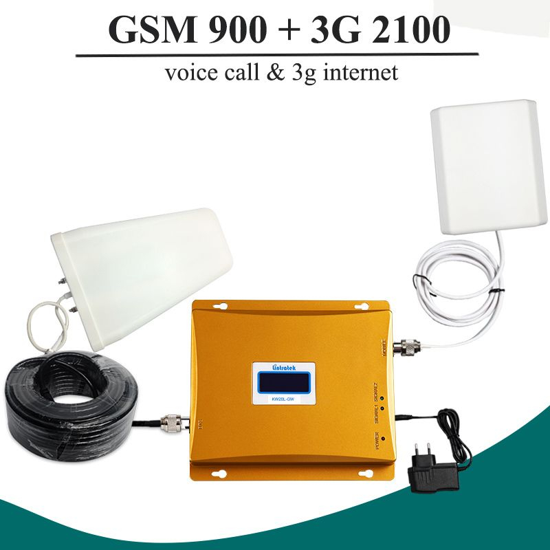 LCD-Display GSM 900 mhz 3G WCDMA 2100 mhz Dual-band-handy-signal-verstärker Repeater 65dB GSM 900 3G UMTS 2100 Handy Booster Verstärker