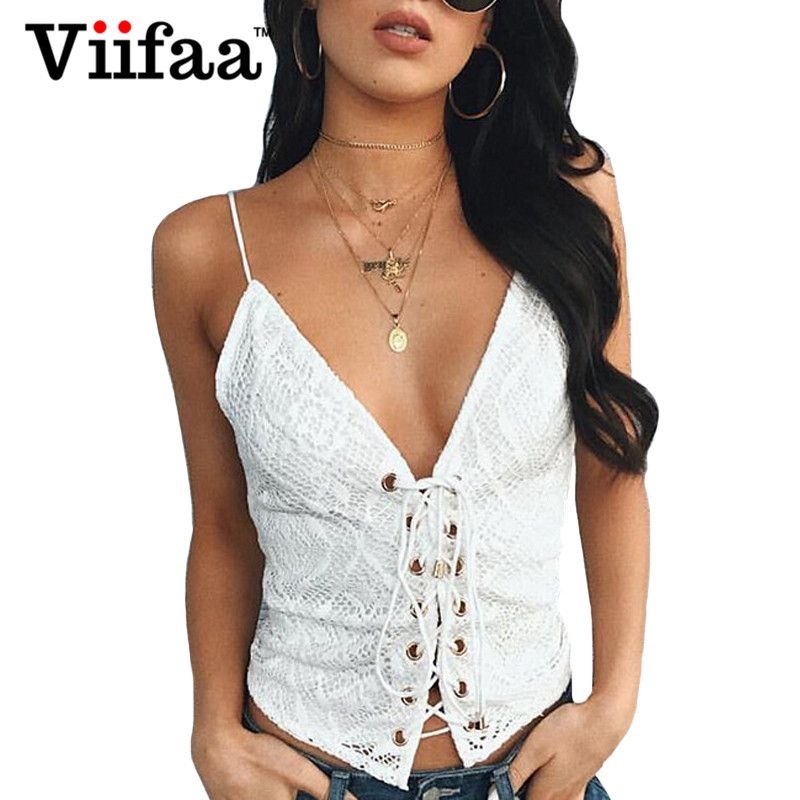 Viifaa Off Shoulder Women White Lace Blouse Top 2017 Ladies Lace Up Strappy Tops Sexy Deep V Neck Crop Top Shirt