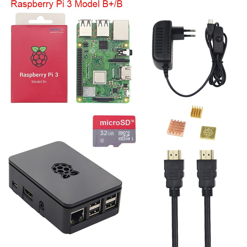 Original Raspberry Pi 3 B+ Starter Kit 2.5A Power Supply Adater + 16 32GB SD Card + Case +Heat Sink for Raspberry Pi 3 Model B+