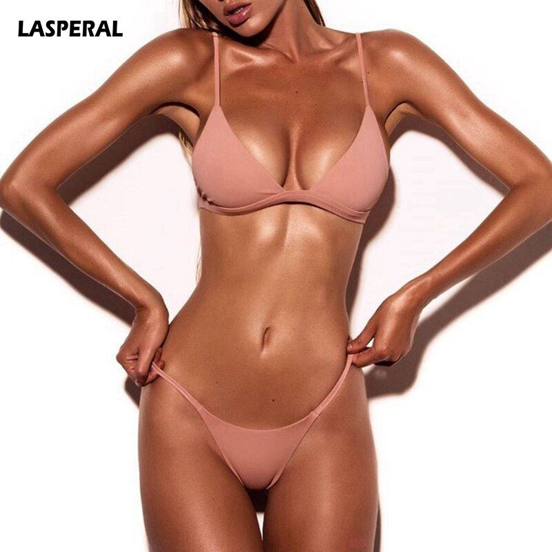 LASPERAL 2017 Sexy Solide Top String Micro Bikini Femmes Maillot de Bain Brésilien Bikinis Ensemble Maillot de bain Plage Maillot De Bain Monokini