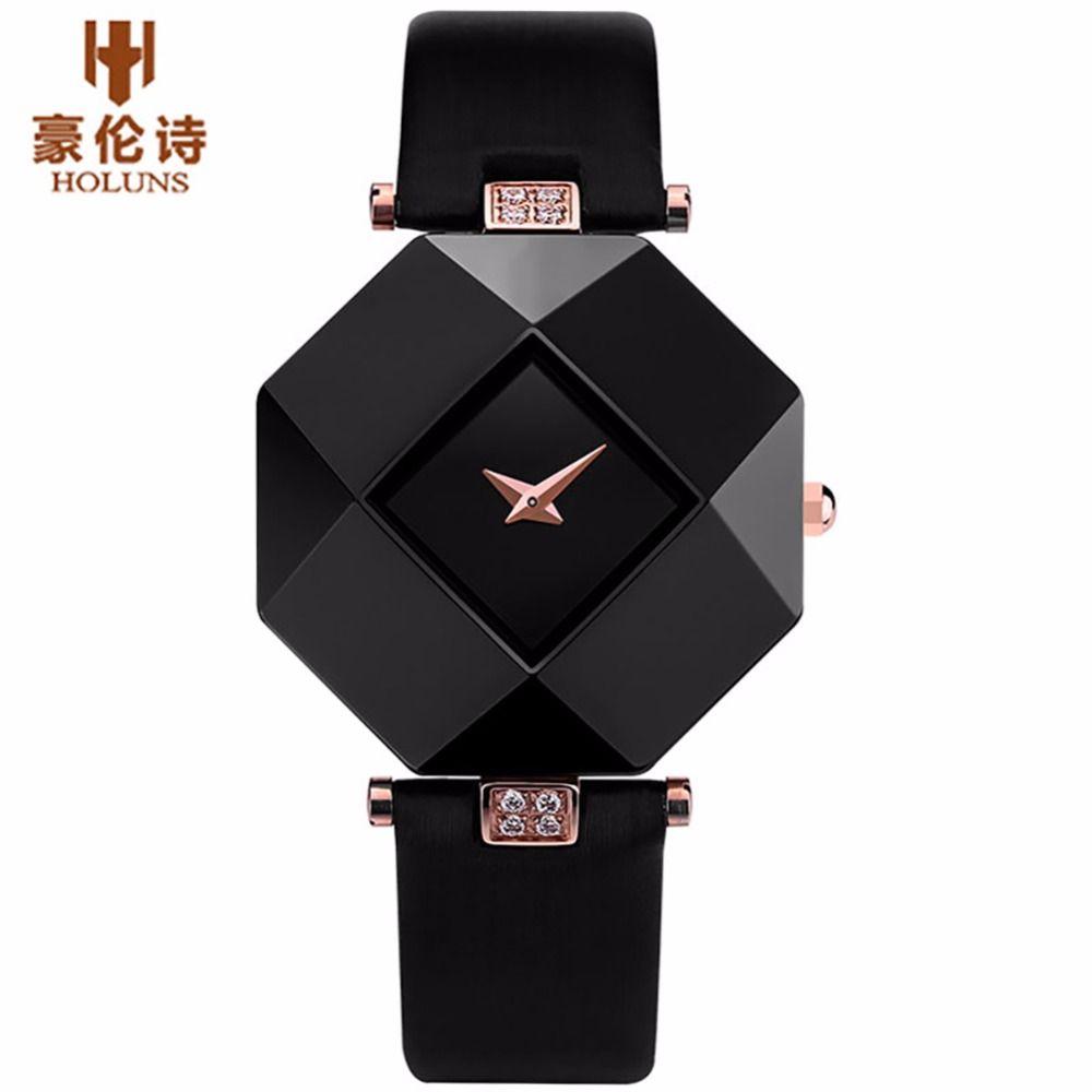 HOLUNS Brand Luxury Leather Watches Women Creative Ceramic Diamond Dial Fashion Casual Genuine Elegant Ladies Quartz Wrist Watch