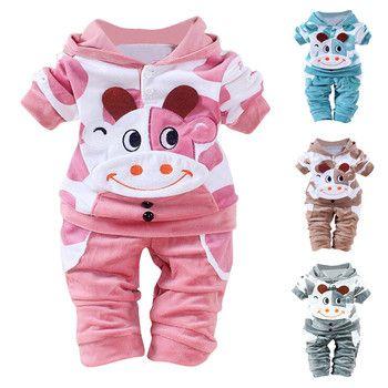 Muqgew Детская Одежда для новорожденных мальчиков и девочек с длинным рукавом мультфильм корова теплая верхняя одежда бархат с капюшоном Топы...