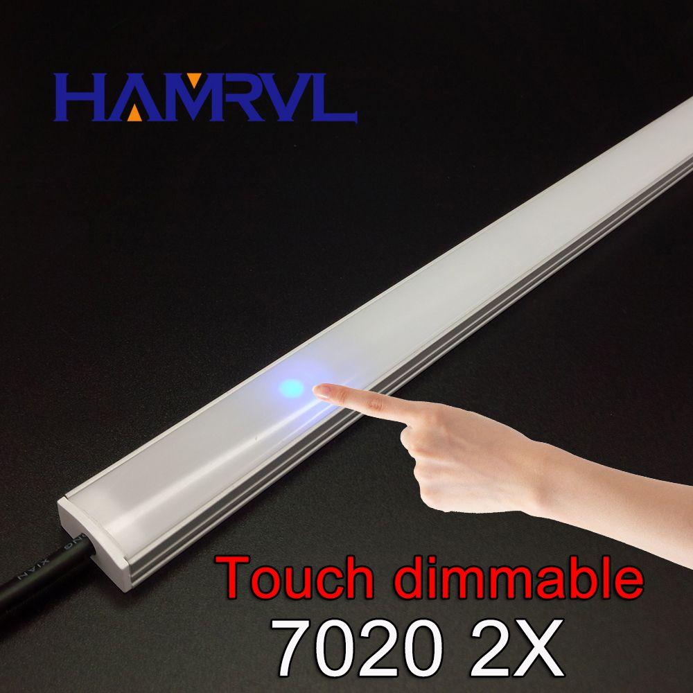 2 pcs dimmable sous la bande du cabinet lighting7020 7030 9 W 50 cm tactile commutateur contrôle Cuisine LED lumière b DC12V bande rigide lumière