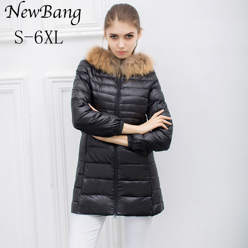 NewBang 5XL 6XL Women Raccoon Fur Hooded Jacket Women's Winter Ultra Light Down Long Coats Female Parkas With Carry Bag Plus