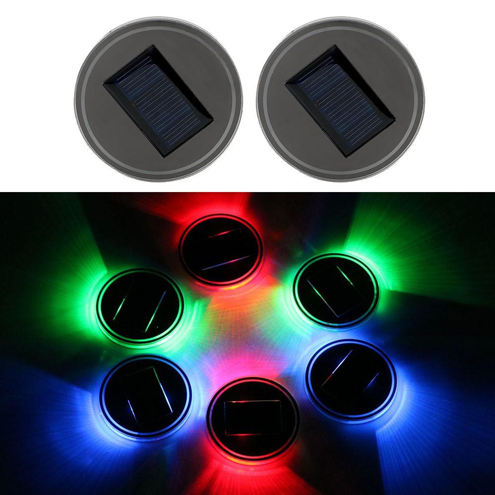 2Pcs Anti Slip Car Cup Mat Solar Light Vibration Sensor Auto Cup Holder Bottom Pad Light Red/Green/Blue Atmosphere Lamp