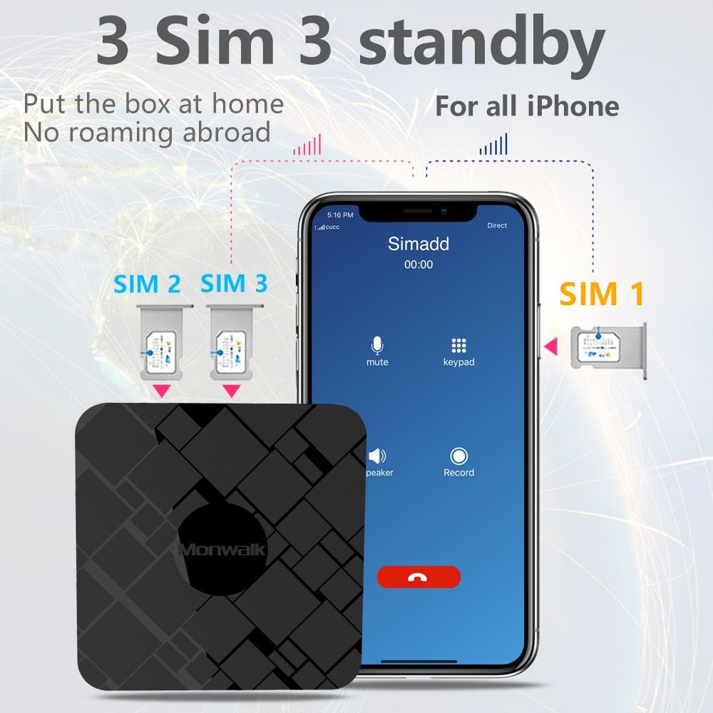 No roaming abroad SIMadd 3 SIM 3 Standby Activate Online at the same time for iPhone 6/7/8/X iOS 7-12 SIM at home ,no need carry