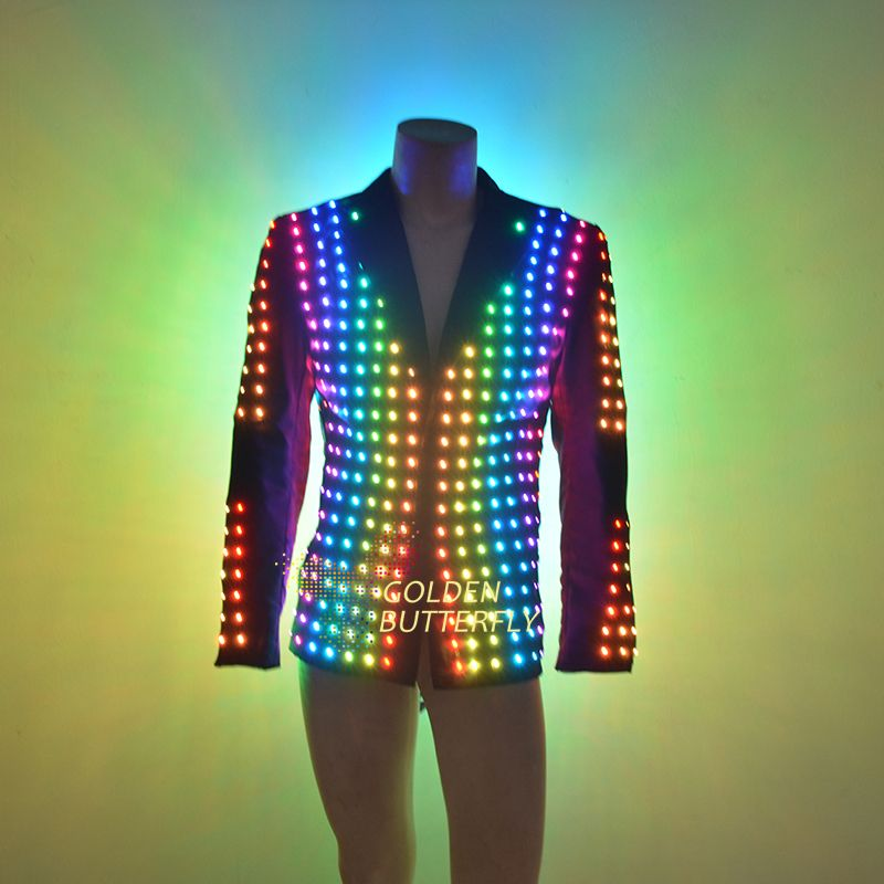 LED Clothing Vestidos Luminous Costumes Glowing LED Suits 2017 Fashion Clothes Show Men battery led costume Dance Accessories