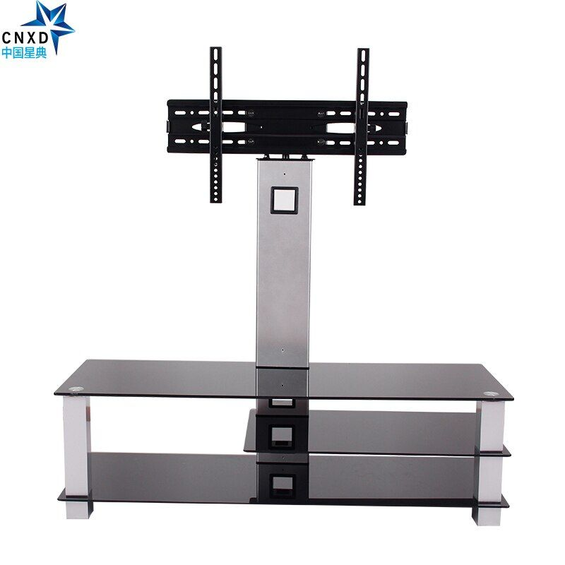 Universal Tilting Adjustable LCD LED Flat Screen TV Table Top Desk Stand with Glass Base fits 32
