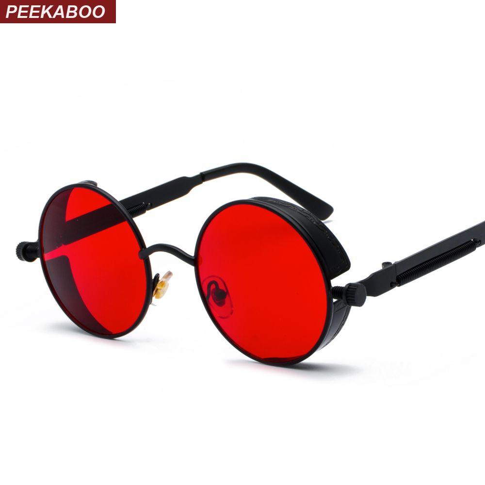 Peekaboo métal rond steampunk lunettes de soleil hommes femmes mode été 2019 rose bleu jaune rouge rond lunettes de soleil pour femmes unisexe