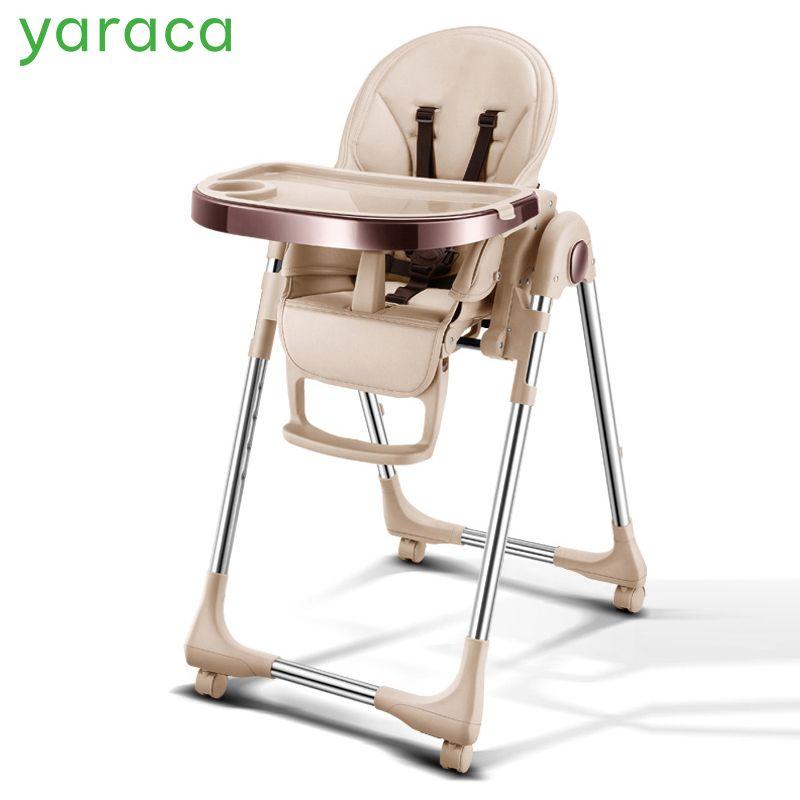 Tragbare Hohe Stuhl Für Baby Faltbare Baby Highchairs für Feedding Einstellbar Booster Sitz Für Abendessen Tisch Mit Vier Rädern