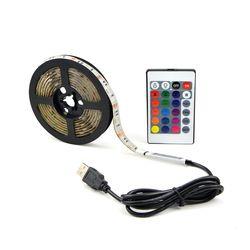 16 Couleurs Réglable USB RGB Led Light Strip 30 Led/M 5050SMD lampe Chaîne 0.5 M 1 M 2 M 3 M 4 M 5 M IP65/IP20 Étanche + Remoter