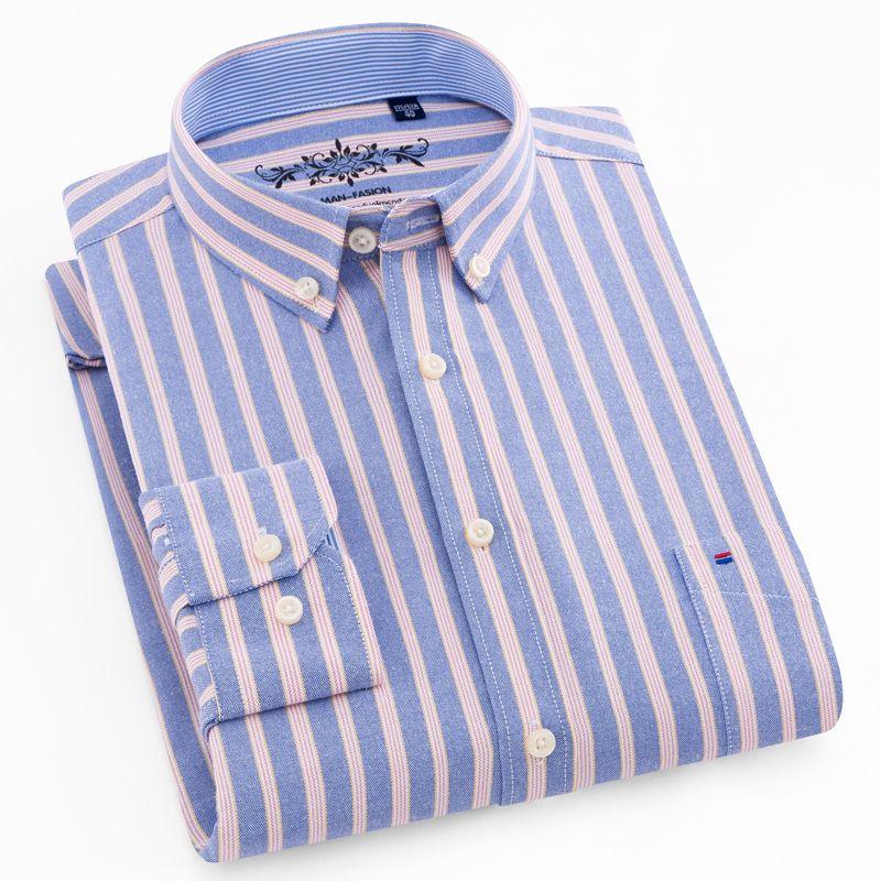 Men's Long Sleeve Plaid/Striped Oxford Dress Shirt Single Patch Pocket with Box-pleated Back Yoke Regular-fit <font><b>Button</b></font> Down Shirts