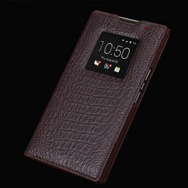 Luxus Echtledertasche für Blackberry Priv Fall Echtledertaschen Fenster-ansicht Business Shell Fundas Haut capa